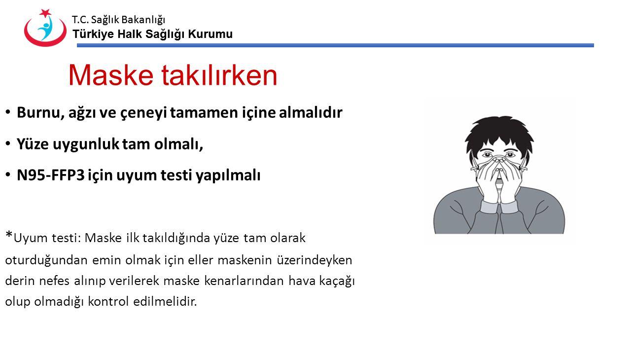 T.C. Sağlık Bakanlığı Türkiye Halk Sağlığı Kurumu T.C. Sağlık Bakanlığı Türkiye Halk Sağlığı Kurumu Maske takılırken Burnu, ağzı ve çeneyi tamamen içi