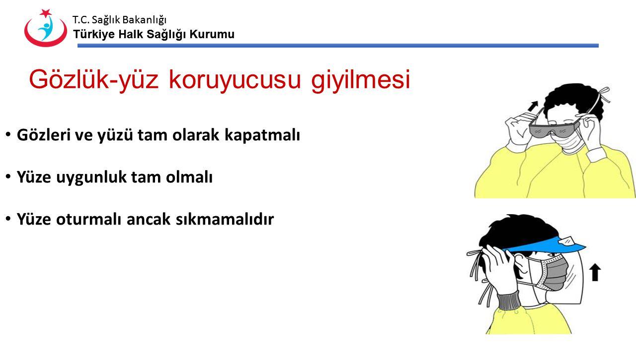T.C. Sağlık Bakanlığı Türkiye Halk Sağlığı Kurumu T.C. Sağlık Bakanlığı Türkiye Halk Sağlığı Kurumu Gözlük-yüz koruyucusu giyilmesi Gözleri ve yüzü ta