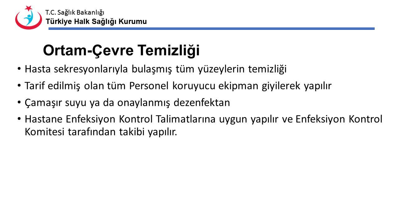 T.C. Sağlık Bakanlığı Türkiye Halk Sağlığı Kurumu T.C. Sağlık Bakanlığı Türkiye Halk Sağlığı Kurumu Ortam-Çevre Temizliği Hasta sekresyonlarıyla bulaş