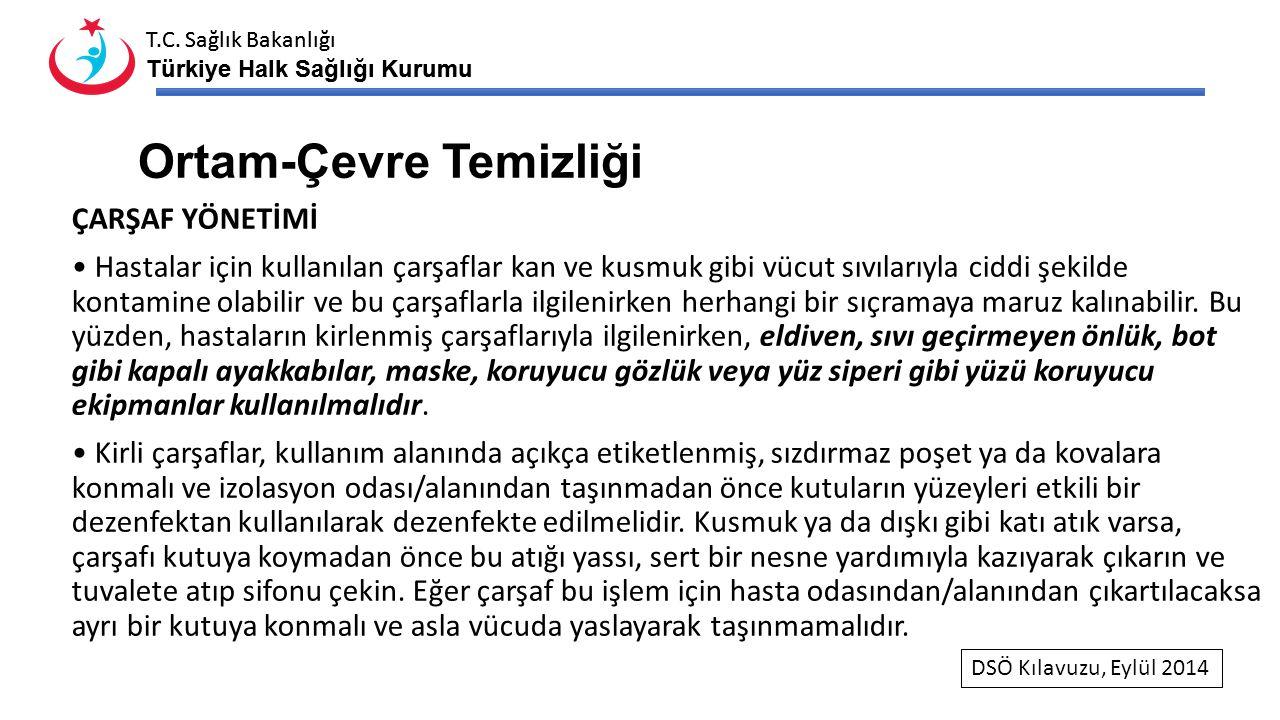T.C. Sağlık Bakanlığı Türkiye Halk Sağlığı Kurumu T.C. Sağlık Bakanlığı Türkiye Halk Sağlığı Kurumu Ortam-Çevre Temizliği ÇARŞAF YÖNETİMİ Hastalar içi