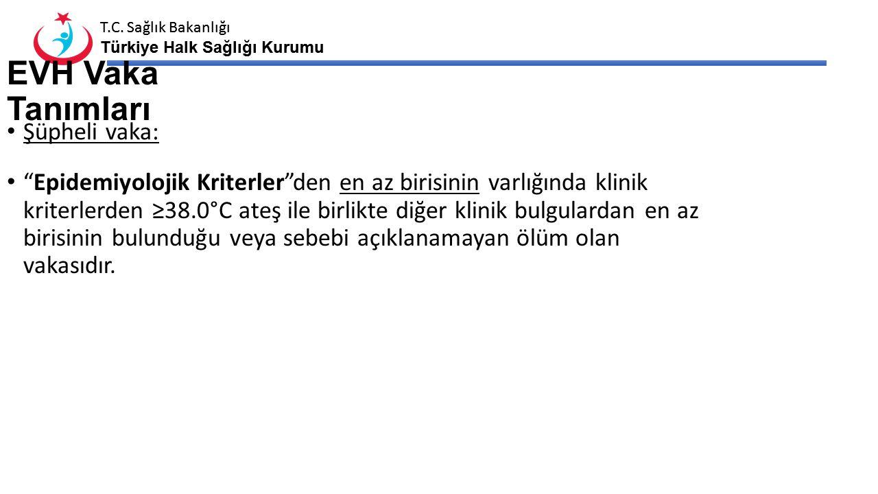 """T.C. Sağlık Bakanlığı Türkiye Halk Sağlığı Kurumu T.C. Sağlık Bakanlığı Türkiye Halk Sağlığı Kurumu EVH Vaka Tanımları Şüpheli vaka: """"Epidemiyolojik K"""
