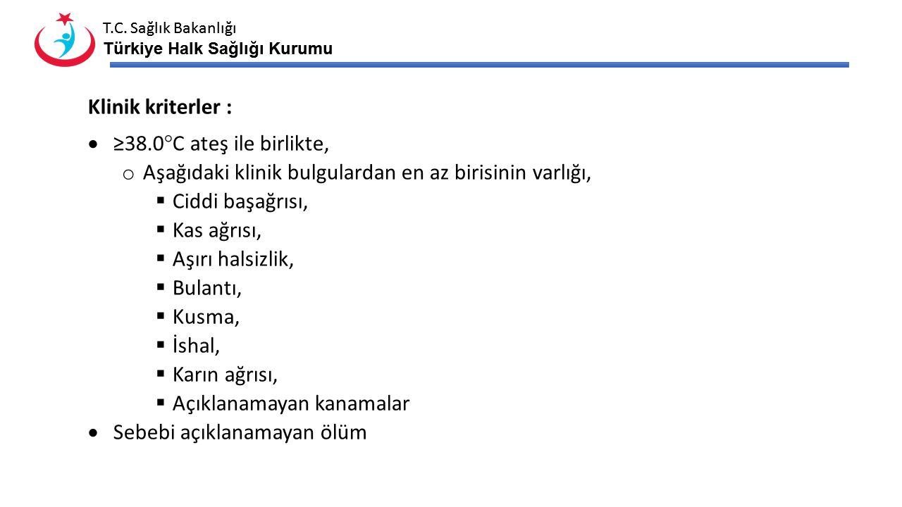 T.C. Sağlık Bakanlığı Türkiye Halk Sağlığı Kurumu T.C. Sağlık Bakanlığı Türkiye Halk Sağlığı Kurumu Klinik kriterler :  ≥38.0°C ateş ile birlikte, o