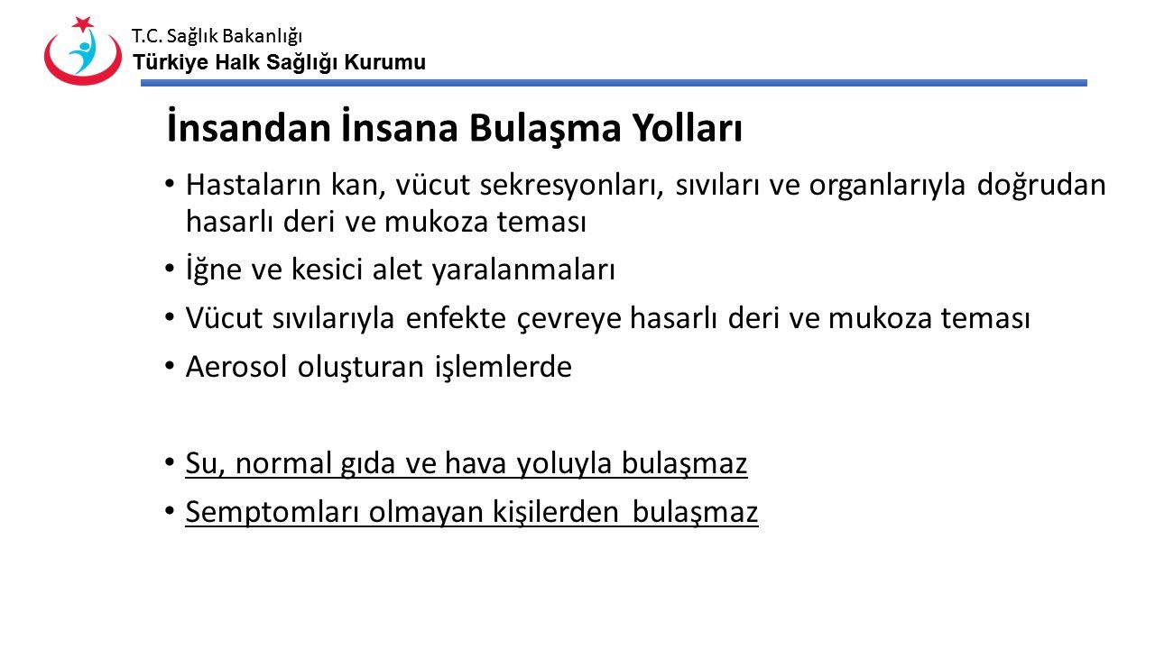 T.C. Sağlık Bakanlığı Türkiye Halk Sağlığı Kurumu T.C. Sağlık Bakanlığı Türkiye Halk Sağlığı Kurumu İnsandan İnsana Bulaşma Yolları Hastaların kan, vü