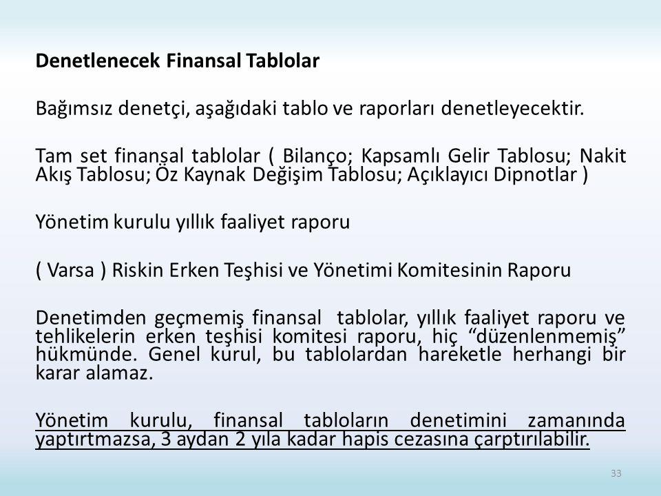 Denetlenecek Finansal Tablolar Bağımsız denetçi, aşağıdaki tablo ve raporları denetleyecektir.