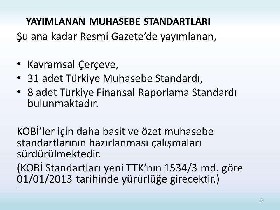 Şu ana kadar Resmi Gazete'de yayımlanan, Kavramsal Çerçeve, 31 adet Türkiye Muhasebe Standardı, 8 adet Türkiye Finansal Raporlama Standardı bulunmaktadır.