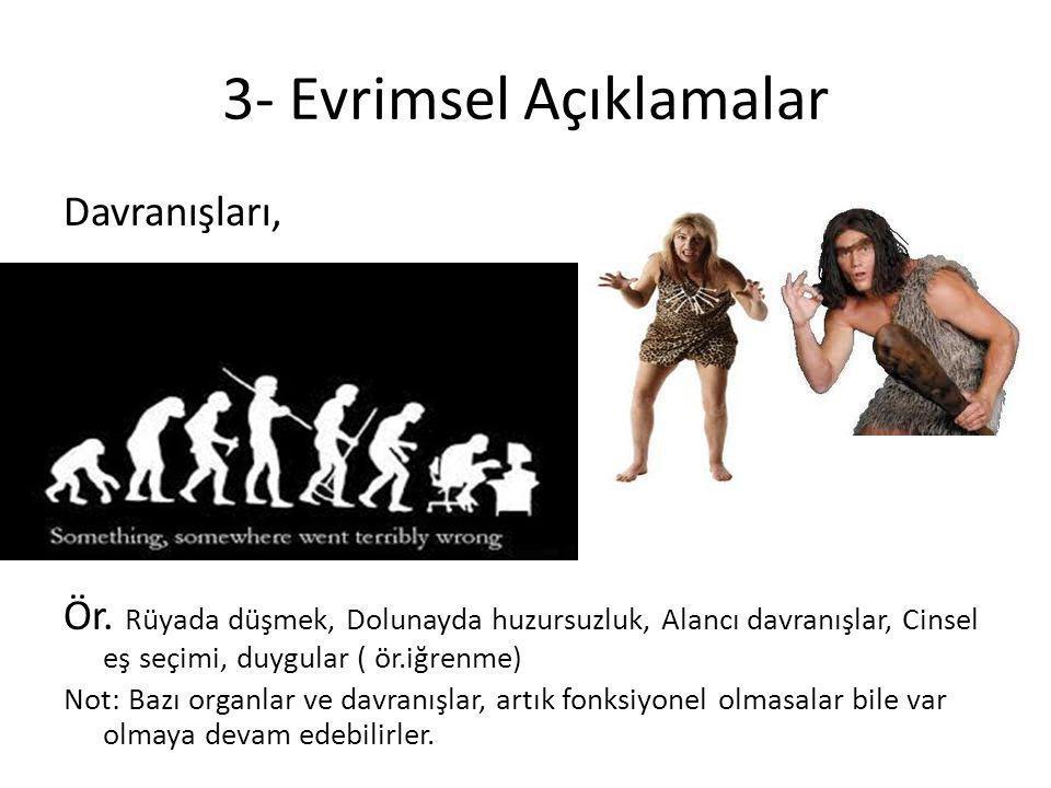 3- Evrimsel Açıklamalar Davranışları, Ör. Rüyada düşmek, Dolunayda huzursuzluk, Alancı davranışlar, Cinsel eş seçimi, duygular ( ör.iğrenme) Not: Bazı