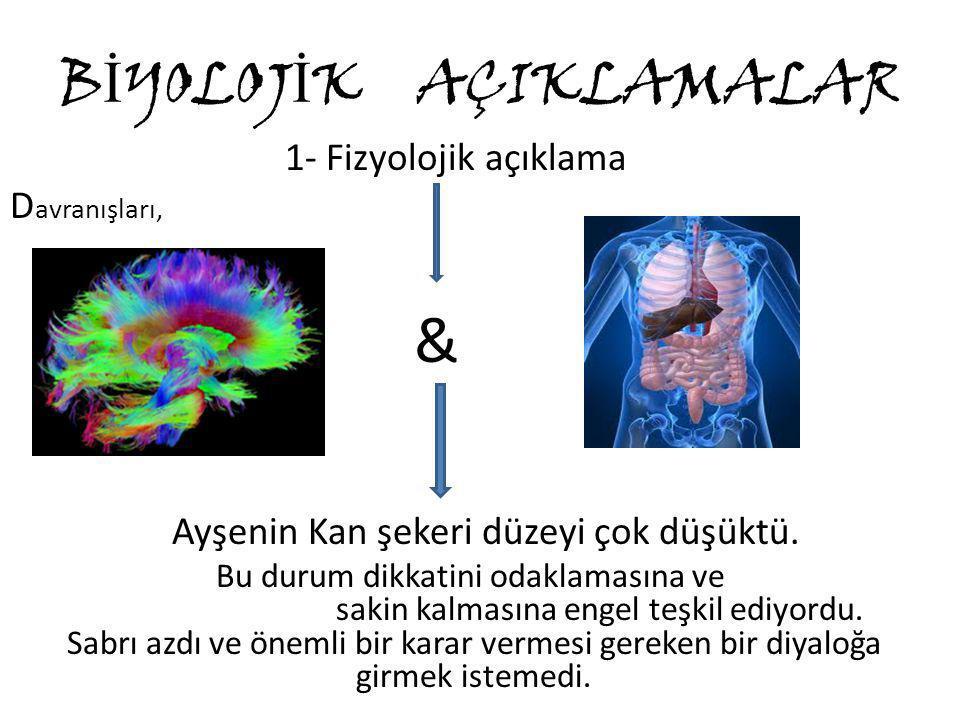 B İ YOLOJ İ K AÇIKLAMALAR 1- Fizyolojik açıklama D avranışları, & Ayşenin Kan şekeri düzeyi çok düşüktü. Bu durum dikkatini odaklamasına ve sakin kalm