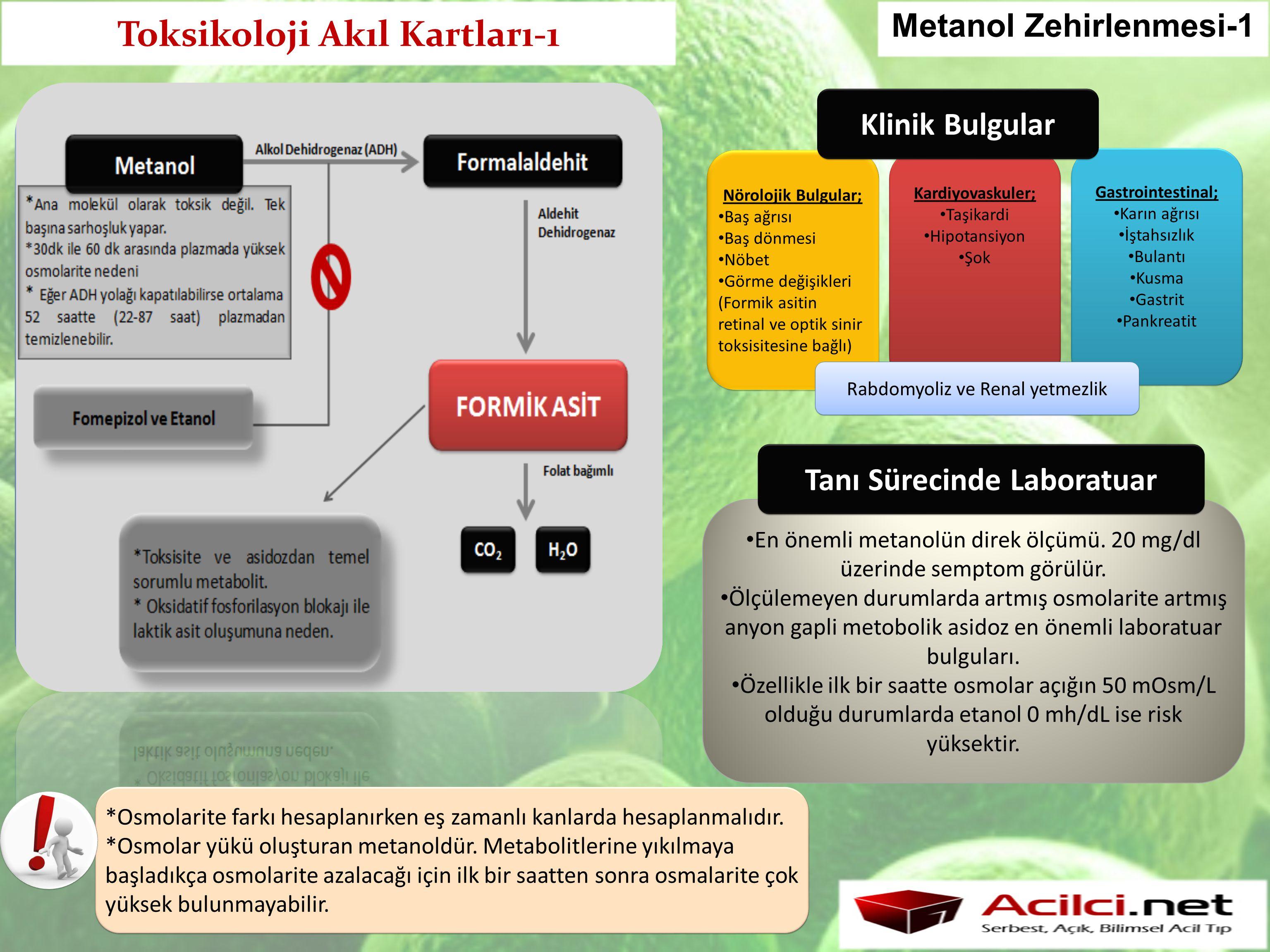 Toksikoloji Akıl Kartları-1 Metanol Zehirlenmesi-1 Nörolojik Bulgular; Baş ağrısı Baş dönmesi Nöbet Görme değişikleri (Formik asitin retinal ve optik