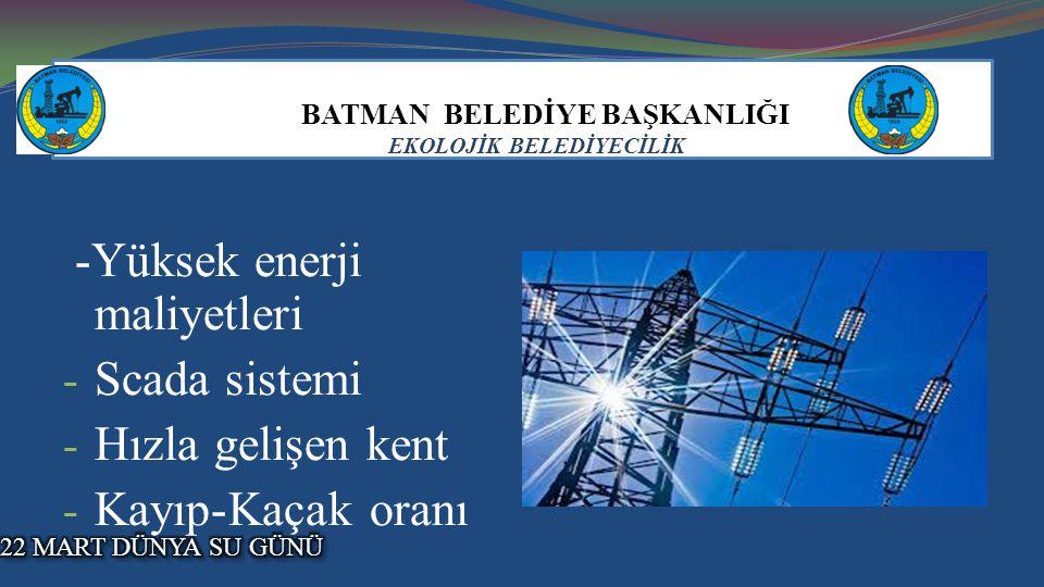 BATMAN BELEDİYE BAŞKANLIĞI EKOLOJİK BELEDİYECİLİK -Yüksek enerji maliyetleri - Scada sistemi - Hızla gelişen kent - Kayıp-Kaçak oranı