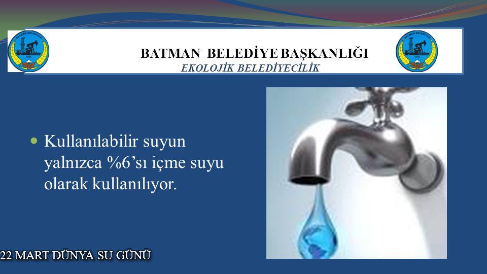 BATMAN BELEDİYE BAŞKANLIĞI EKOLOJİK BELEDİYECİLİK Kullanılabilir suyun yalnızca %6'sı içme suyu olarak kullanılıyor.