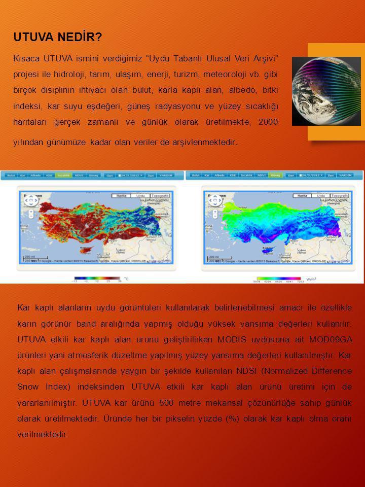 """UTUVA NEDİR? Kısaca UTUVA ismini verdiğimiz """"Uydu Tabanlı Ulusal Veri Arşivi"""" projesi ile hidroloji, tarım, ulaşım, enerji, turizm, meteoroloji vb. gi"""