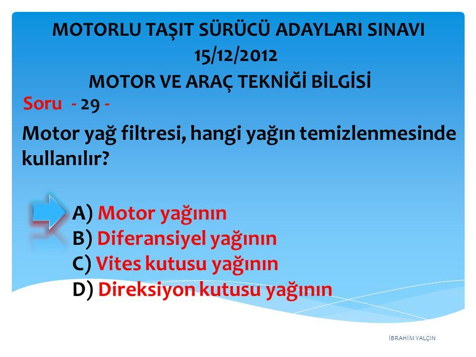 İBRAHİM YALÇIN Motordaki yağ basıncını sürücüye bildiren gösterge aşağıdakilerden hangisidir.