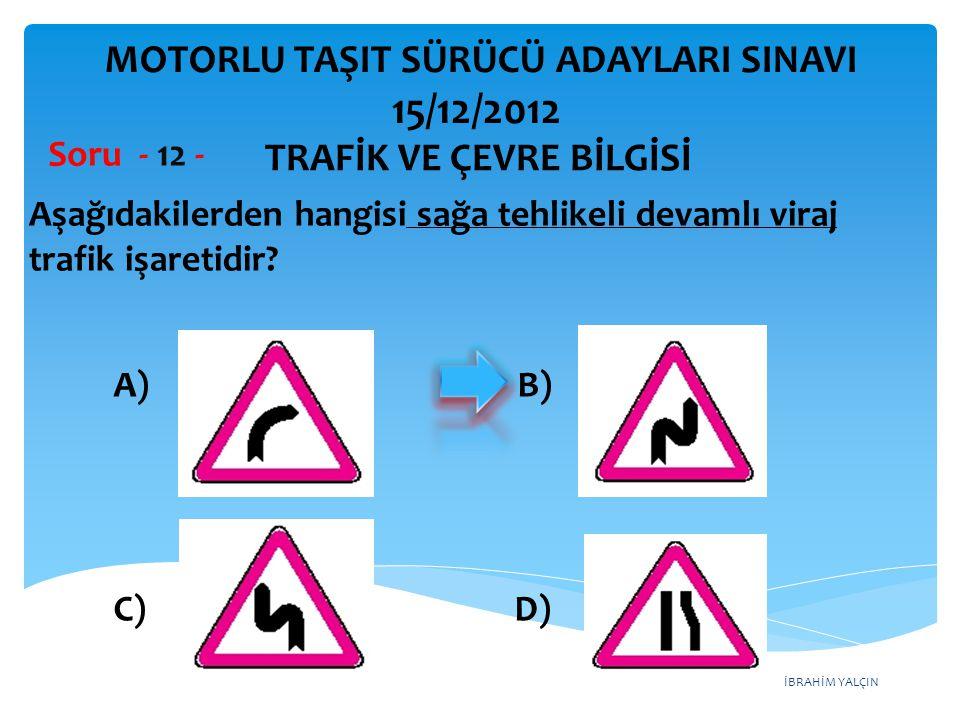 İBRAHİM YALÇIN Şekildeki trafik işareti neyi bildirir.