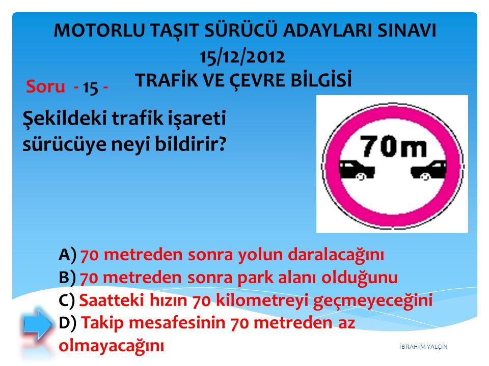 İBRAHİM YALÇIN Aşağıdaki trafik işaretlerinden hangisinin bulunduğu yola motosiklet girebilir.