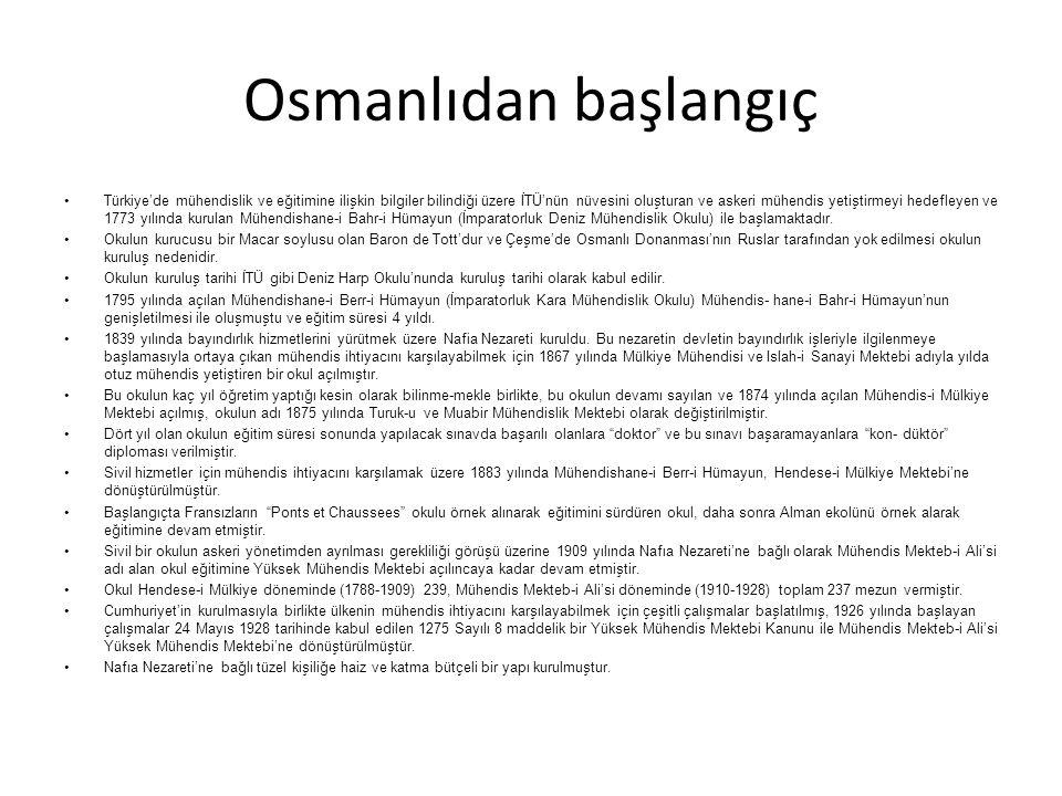 Osmanlıdan başlangıç Türkiye'de mühendislik ve eğitimine ilişkin bilgiler bilindiği üzere İTÜ'nün nüvesini oluşturan ve askeri mühendis yetiştirmeyi h