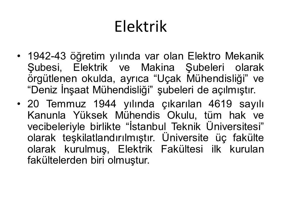 """Elektrik 1942-43 öğretim yılında var olan Elektro Mekanik Şubesi, Elektrik ve Makina Şubeleri olarak örgütlenen okulda, ayrıca """"Uçak Mühendisliği"""" ve"""