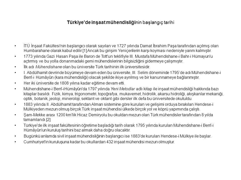 Türkiye'de inşaat mühendisliğinin başlangıç tarihi İTÜ İnşaat Fakültesi'nin başlangıcı olarak sayılan ve 1727 yılında Damat İbrahim Paşa tarafından aç
