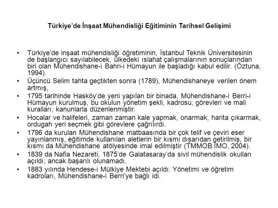 Türkiye'de İnşaat Mühendisliği Eğitiminin Tarihsel Gelişimi Türkiye'de inşaat mühendisliği öğretiminin, İstanbul Teknik Üniversitesinin de başlangıcı