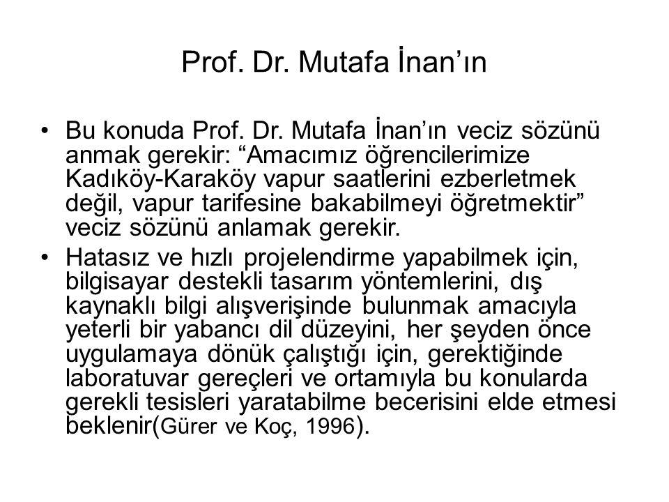 """Prof. Dr. Mutafa İnan'ın Bu konuda Prof. Dr. Mutafa İnan'ın veciz sözünü anmak gerekir: """"Amacımız öğrencilerimize Kadıköy-Karaköy vapur saatlerini ezb"""