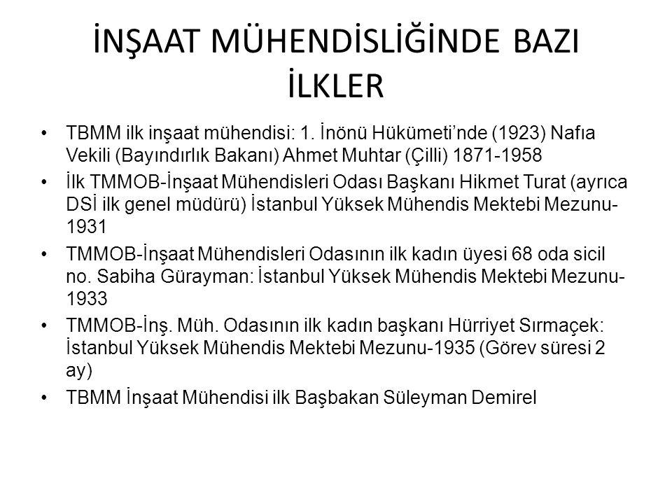 İNŞAAT MÜHENDİSLİĞİNDE BAZI İLKLER TBMM ilk inşaat mühendisi: 1. İnönü Hükümeti'nde (1923) Nafıa Vekili (Bayındırlık Bakanı) Ahmet Muhtar (Çilli) 1871