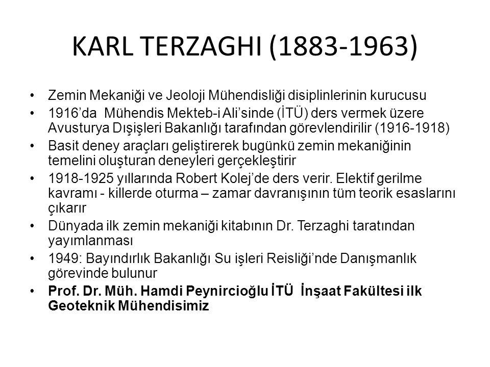KARL TERZAGHI (1883-1963) Zemin Mekaniği ve Jeoloji Mühendisliği disiplinlerinin kurucusu 1916'da Mühendis Mekteb-i Ali'sinde (İTÜ) ders vermek üzere