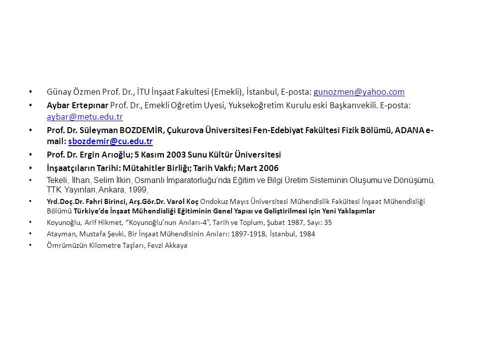 Günay Özmen Prof. Dr., İTU İnşaat Fakultesi (Emekli), İstanbul, E-posta: gunozmen@yahoo.comgunozmen@yahoo.com Aybar Ertepınar Prof. Dr., Emekli Oğreti