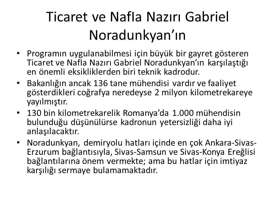 Ticaret ve NafIa Nazırı Gabriel Noradunkyan'ın Programın uygulanabilmesi için büyük bir gayret gösteren Ticaret ve NafIa Nazırı Gabriel Noradunkyan'ın