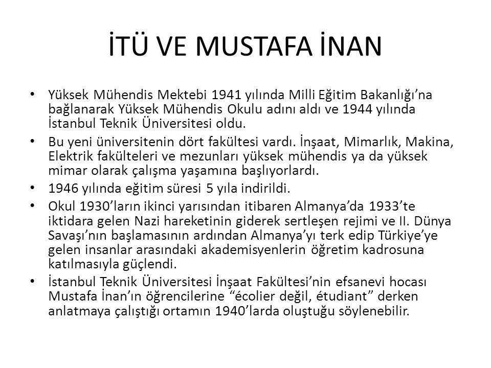 İTÜ VE MUSTAFA İNAN Yüksek Mühendis Mektebi 1941 yılında Milli Eğitim Bakanlığı'na bağlanarak Yüksek Mühendis Okulu adını aldı ve 1944 yılında İstanbu