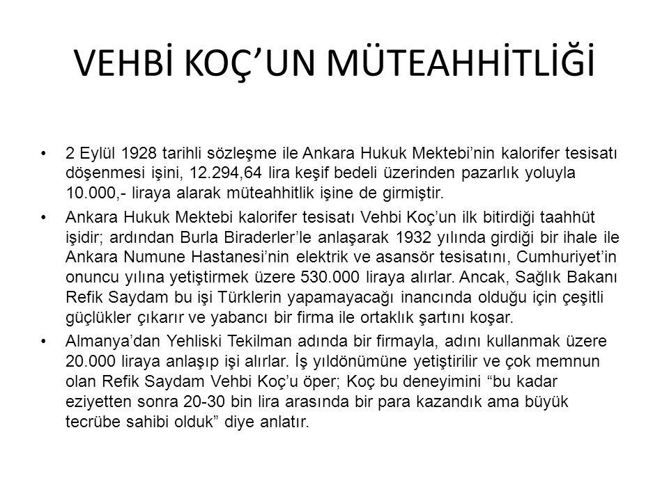 VEHBİ KOÇ'UN MÜTEAHHİTLİĞİ 2 Eylül 1928 tarihli sözleşme ile Ankara Hukuk Mektebi'nin kalorifer tesisatı döşenmesi işini, 12.294,64 lira keşif bedeli