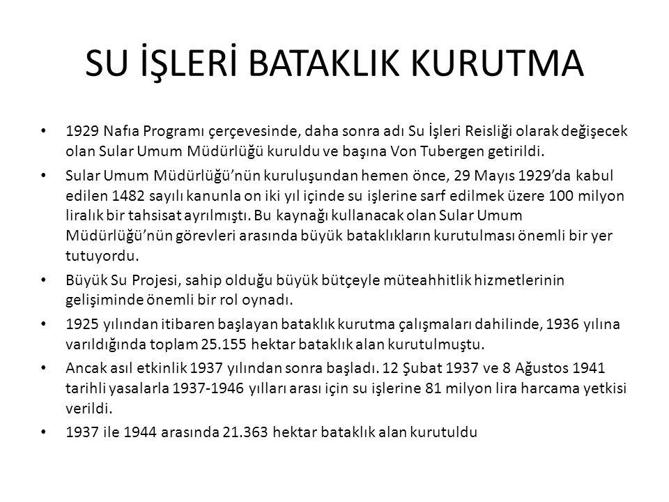 SU İŞLERİ BATAKLIK KURUTMA 1929 Nafıa Programı çerçevesinde, daha sonra adı Su İşleri Reisliği olarak değişecek olan Sular Umum Müdürlüğü kuruldu ve b