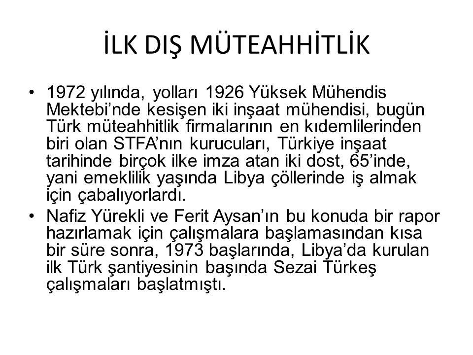 İLK DIŞ MÜTEAHHİTLİK 1972 yılında, yolları 1926 Yüksek Mühendis Mektebi'nde kesişen iki inşaat mühendisi, bugün Türk müteahhitlik firmalarının en kıde