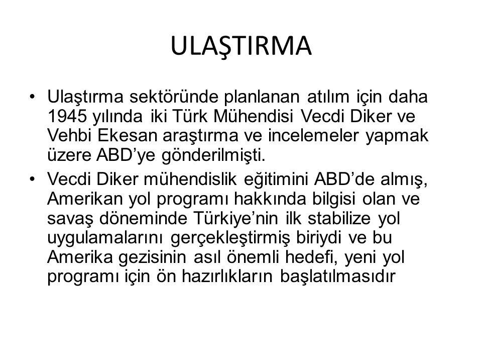 ULAŞTIRMA Ulaştırma sektöründe planlanan atılım için daha 1945 yılında iki Türk Mühendisi Vecdi Diker ve Vehbi Ekesan araştırma ve incelemeler yapmak