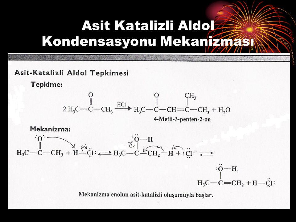 Asit Katalizli Aldol Kondensasyonu Mekanizması