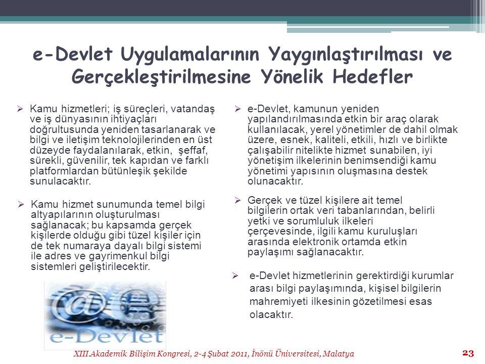 XIII.Akademik Bilişim Kongresi, 2-4 Şubat 2011, İnönü Üniversitesi, Malatya 23 e-Devlet Uygulamalarının Yaygınlaştırılması ve Gerçekleştirilmesine Yön