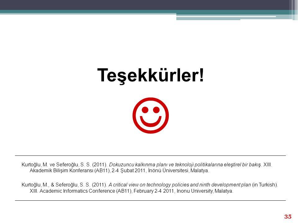 XIII.Akademik Bilişim Kongresi, 2-4 Şubat 2011, İnönü Üniversitesi, Malatya 35 Teşekkürler! Kurtoğlu, M. ve Seferoğlu, S. S. (2011). Dokuzuncu kalkınm