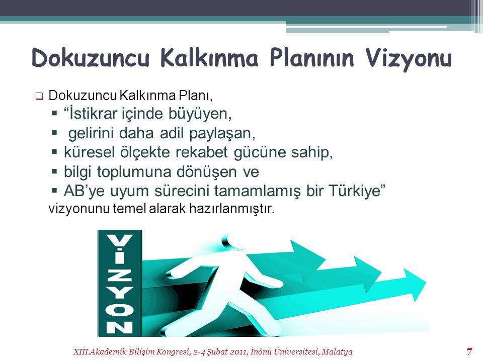 """XIII.Akademik Bilişim Kongresi, 2-4 Şubat 2011, İnönü Üniversitesi, Malatya 7 Dokuzuncu Kalkınma Planının Vizyonu  Dokuzuncu Kalkınma Planı,  """"İstik"""