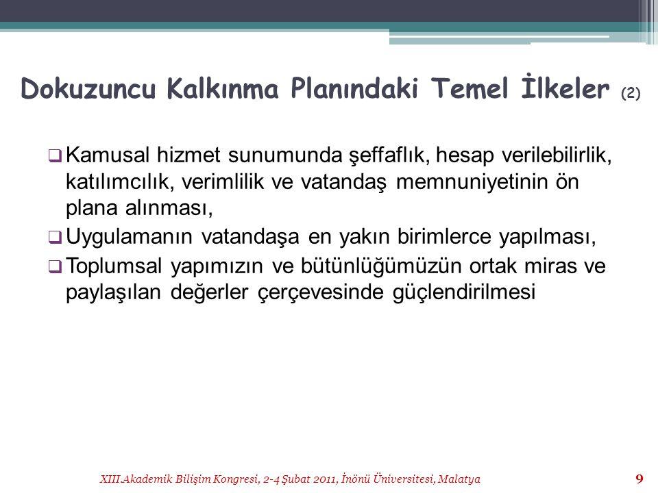 XIII.Akademik Bilişim Kongresi, 2-4 Şubat 2011, İnönü Üniversitesi, Malatya 30 Kaynak:TÜİK, 2009 Hane Halkı BT Kullanım Araştırması Sonuçları 30
