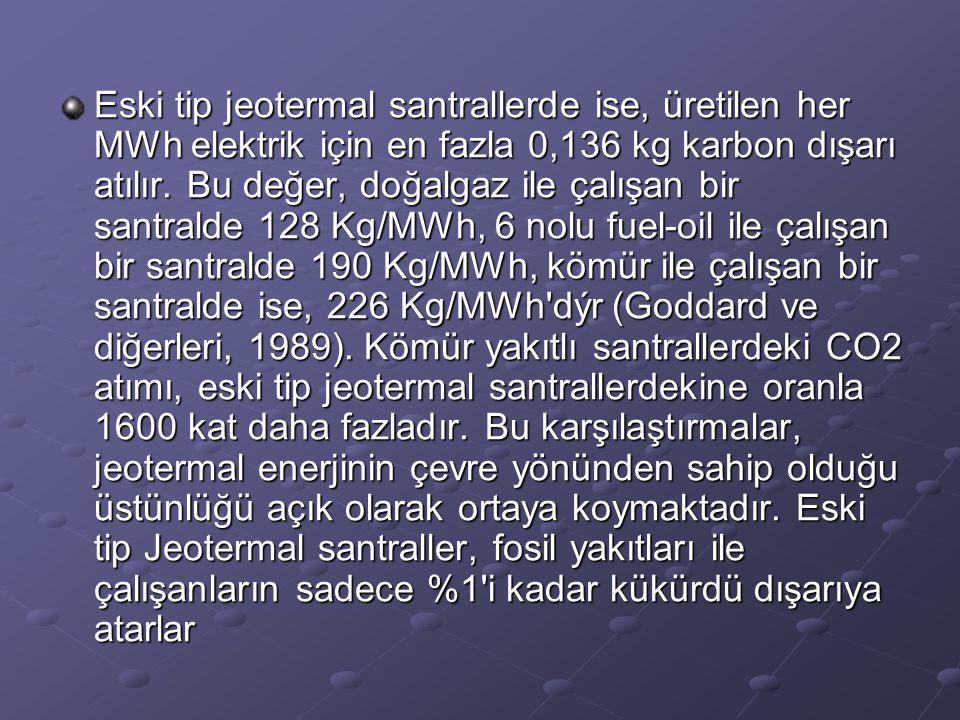 Eski tip jeotermal santrallerde ise, üretilen her MWh elektrik için en fazla 0,136 kg karbon dışarı atılır. Bu değer, doğalgaz ile çalışan bir santral