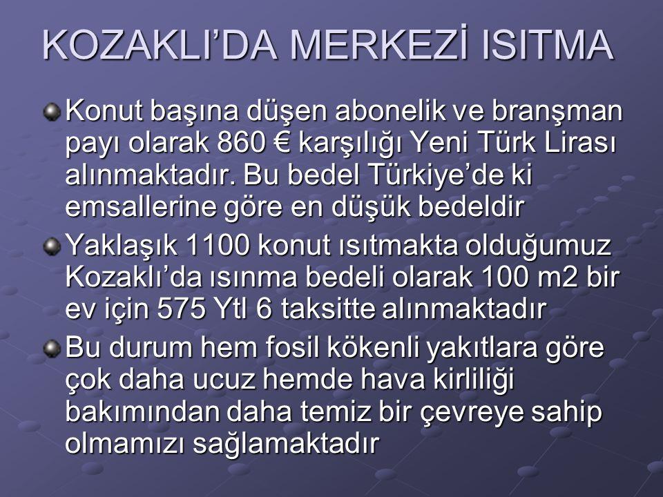 KOZAKLI'DA MERKEZİ ISITMA Konut başına düşen abonelik ve branşman payı olarak 860 € karşılığı Yeni Türk Lirası alınmaktadır. Bu bedel Türkiye'de ki em
