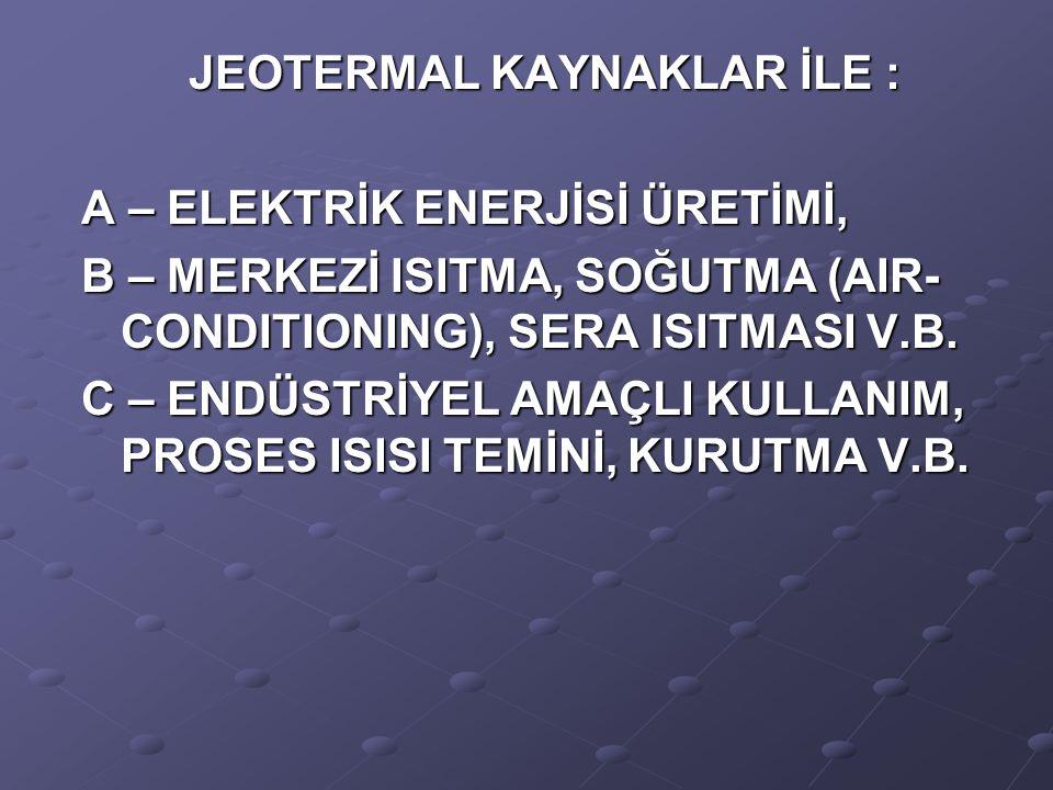 JEOTERMAL KAYNAKLAR İLE : A – ELEKTRİK ENERJİSİ ÜRETİMİ, B – MERKEZİ ISITMA, SOĞUTMA (AIR- CONDITIONING), SERA ISITMASI V.B. C – ENDÜSTRİYEL AMAÇLI KU