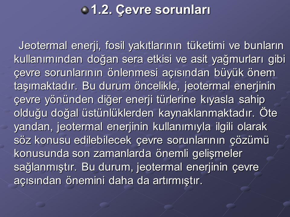1.2. Çevre sorunları Jeotermal enerji, fosil yakıtlarının tüketimi ve bunların kullanımından doğan sera etkisi ve asit yağmurları gibi çevre sorunları