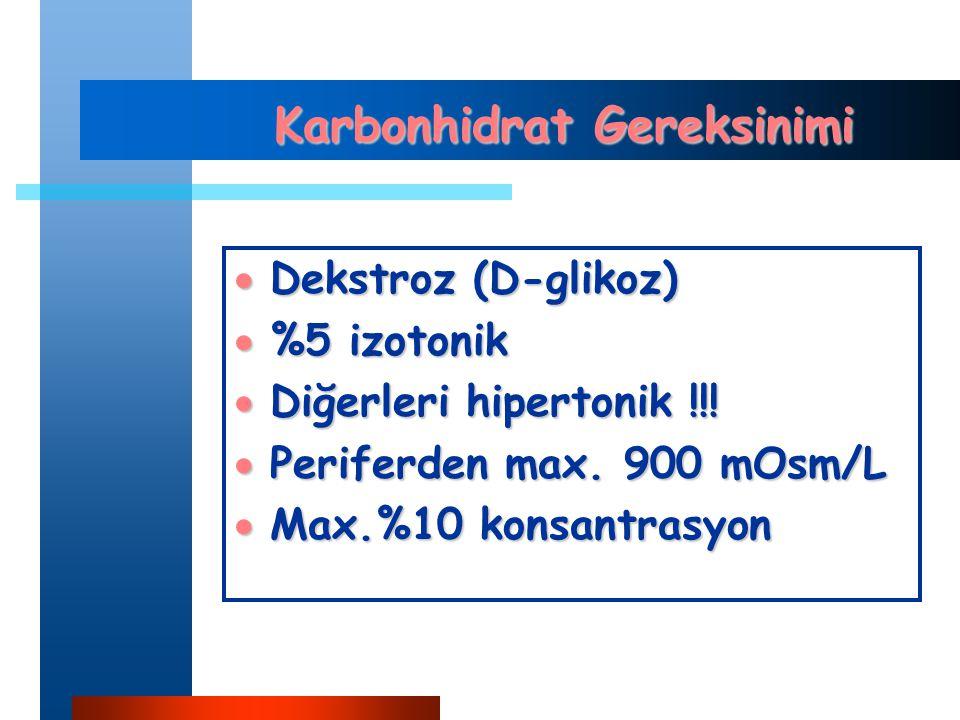 Karbonhidrat Gereksinimi  Dekstroz (D-glikoz)  %5 izotonik  Diğerleri hipertonik !!.