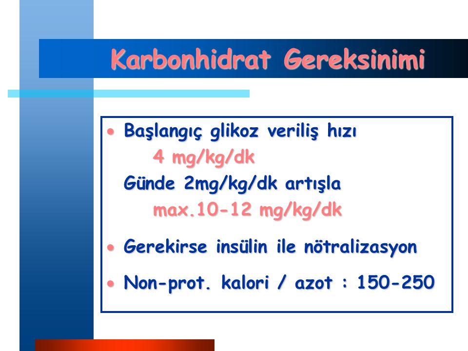 Karbonhidrat Gereksinimi  Başlangıç glikoz veriliş hızı 4 mg/kg/dk Günde 2mg/kg/dk artışla max.10-12 mg/kg/dk  Gerekirse insülin ile nötralizasyon  Non-prot.