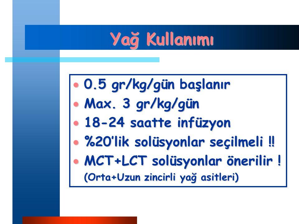Yağ Kullanımı  0.5 gr/kg/gün başlanır  Max.