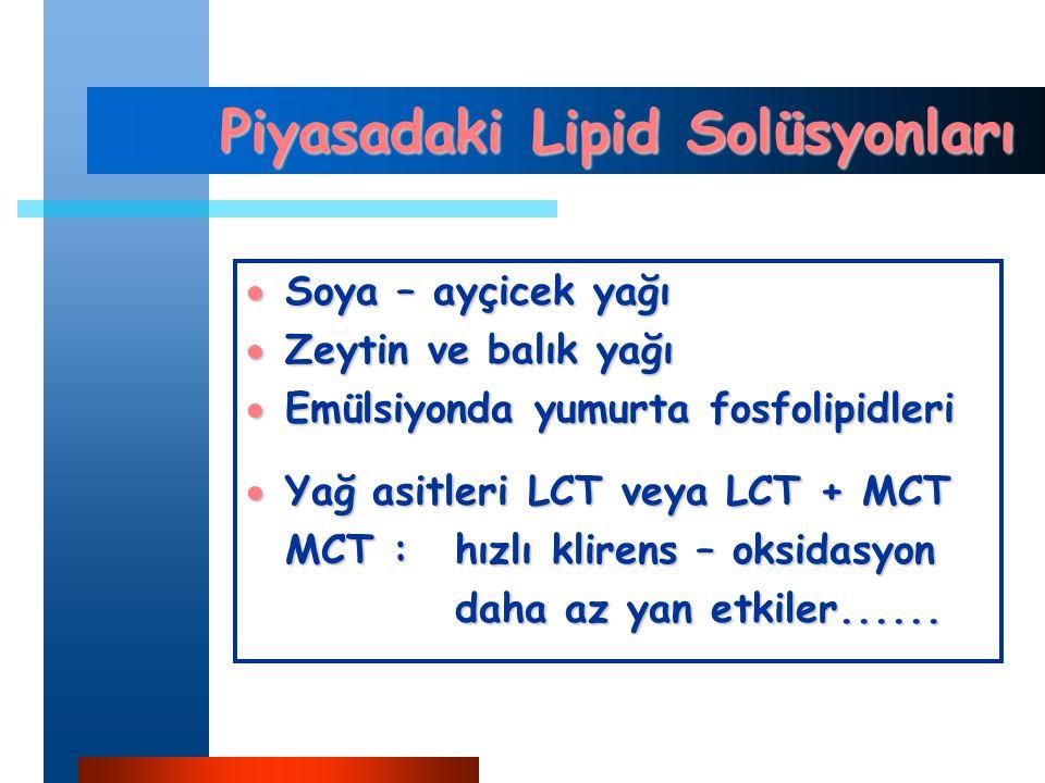 Piyasadaki Lipid Solüsyonları  Soya – ayçicek yağı  Zeytin ve balık yağı  Emülsiyonda yumurta fosfolipidleri  Yağ asitleri LCT veya LCT + MCT MCT :hızlı klirens – oksidasyon daha az yan etkiler......