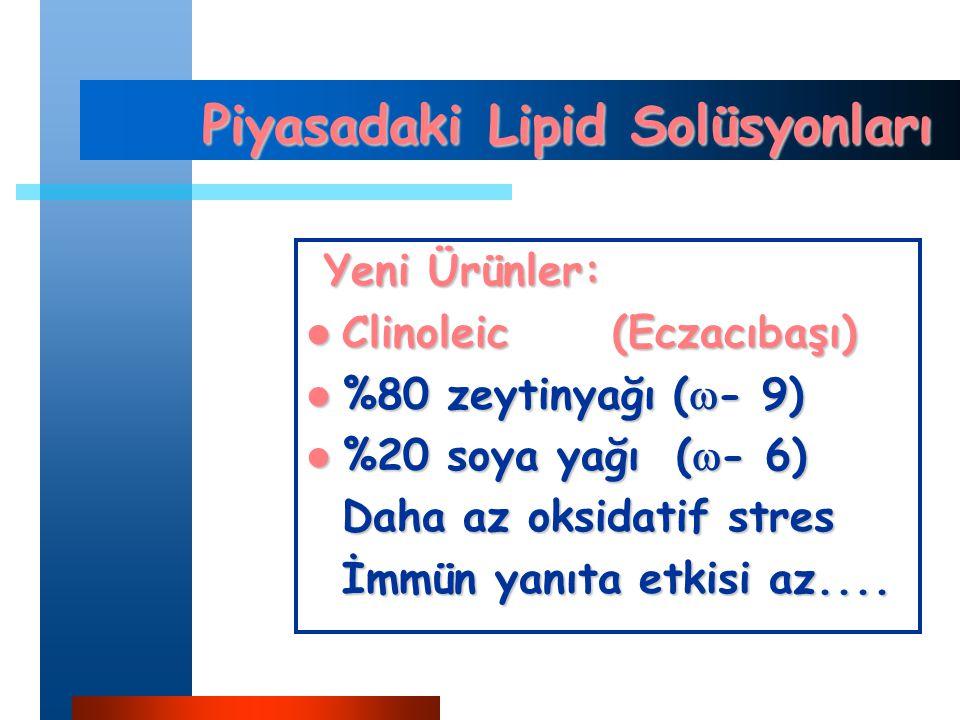 Piyasadaki Lipid Solüsyonları Yeni Ürünler: Yeni Ürünler: Clinoleic (Eczacıbaşı) Clinoleic (Eczacıbaşı) %80 zeytinyağı (  - 9) %80 zeytinyağı (  - 9) %20 soya yağı (  - 6) %20 soya yağı (  - 6) Daha az oksidatif stres İmmün yanıta etkisi az....