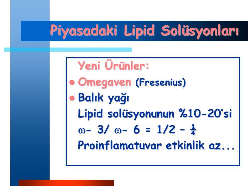 Piyasadaki Lipid Solüsyonları Yeni Ürünler: Omegaven (Fresenius) Omegaven (Fresenius) Balık yağı Balık yağı Lipid solüsyonunun %10-20'si  - 3/  - 6 = 1/2 – ¼ Proinflamatuvar etkinlik az...