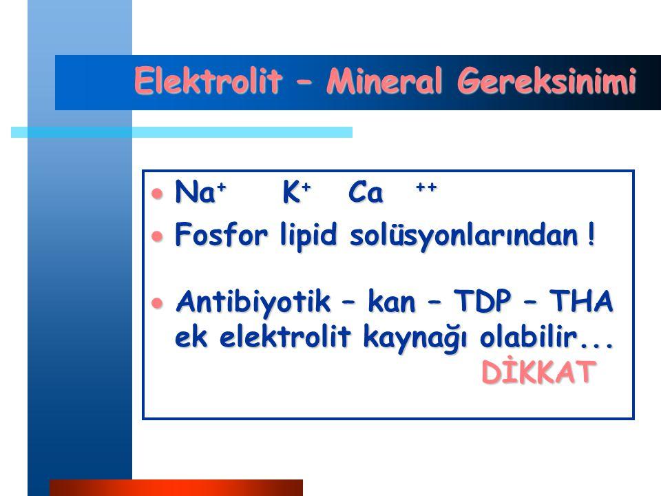 Elektrolit – Mineral Gereksinimi  Na + K + Ca ++  Fosfor lipid solüsyonlarından .