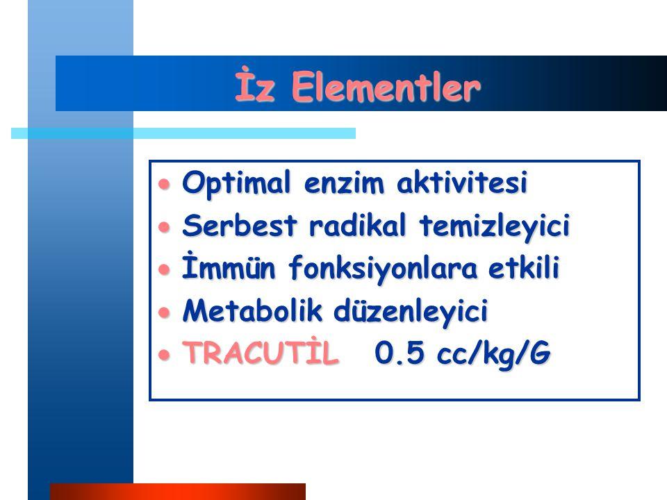 İz Elementler  Optimal enzim aktivitesi  Serbest radikal temizleyici  İmmün fonksiyonlara etkili  Metabolik düzenleyici  TRACUTİL 0.5 cc/kg/G