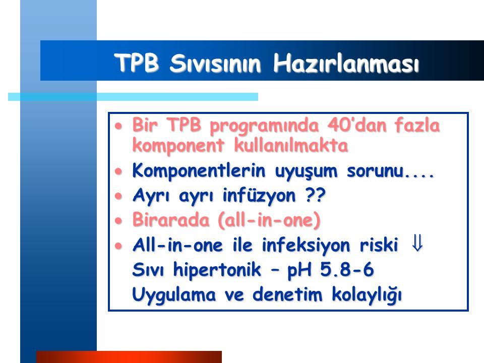TPB Sıvısının Hazırlanması  Bir TPB programında 40'dan fazla komponent kullanılmakta  Komponentlerin uyuşum sorunu....